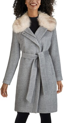 Cole Haan Faux Fur Trim Wool Blend Coat