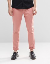 Asos Super Skinny Trousers In Cotton Sateen In Pink