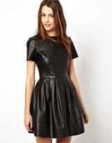 Asos Skater Dress In Leather Look