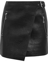 Etoile Isabel Marant Kakili Textured-leather Mini Wrap Skirt - Black