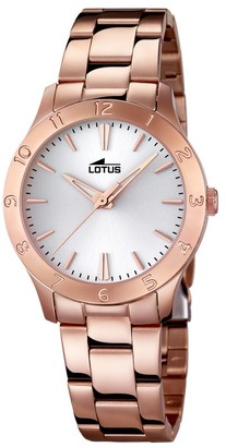Lotus Women's Quartz Watch with White Dial Analogue Display and Stainless Steel Rose Gold Plated Bracelet 18141/1
