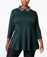 Melissa McCarthy Trendy Plus Size Embellished Swing Blouse