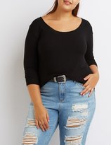 Charlotte Russe Plus Size Ribbed Lattice-Back Top