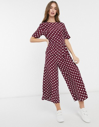 ASOS DESIGN tea jumpsuit with button back detail in burgundy and white spot