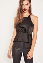 Missguided Black Satin Cross Gather Back Cami Top
