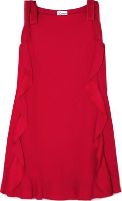 RED Valentino Grosgrain-trimmed Ruffled Crepe Mini Dress
