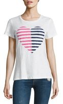 Sundry Striped Heart Cotton Graphic Tee