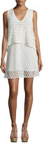 See by Chloe Sleeveless Sheer-Stripe Popover Dress, White