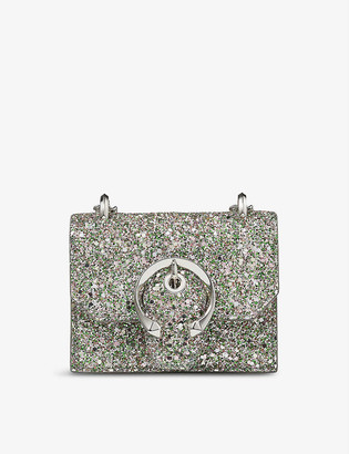 Jimmy Choo Paris mini coarse glitter cross-body bag