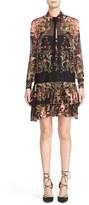 Roberto Cavalli 'Galaxy Garden' Print Silk Georgette Drop Waist Dress