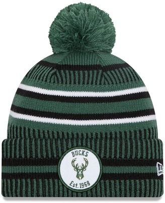 New Era Men's Hunter Green Milwaukee Bucks Team Sport Cuffed Knit Hat with Pom