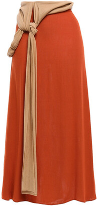 Esteban Cortazar Flared Knotted Crepe Midi Skirt