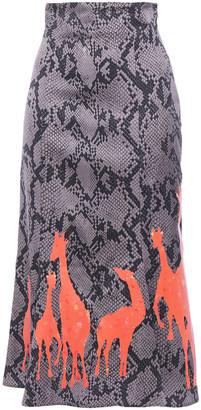 Stella Jean Printed Satin Midi Skirt