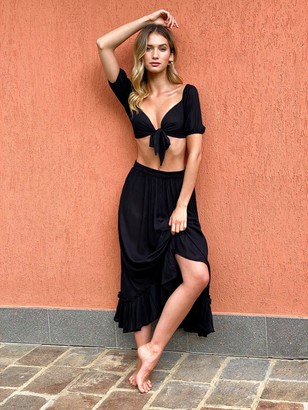 Nasty Gal Womens Summer Nights Tie Crop Top and Maxi Skirt Set - Black