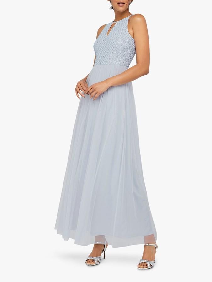 Monsoon Sophia Embellished Tulle Maxi Dress, Blue