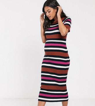 ASOS DESIGN Maternity knitted stripe midi dress