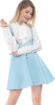 Allegra K Women's Basic Skater Skirt Button Decor Solid Flared Hem Suspender Dress