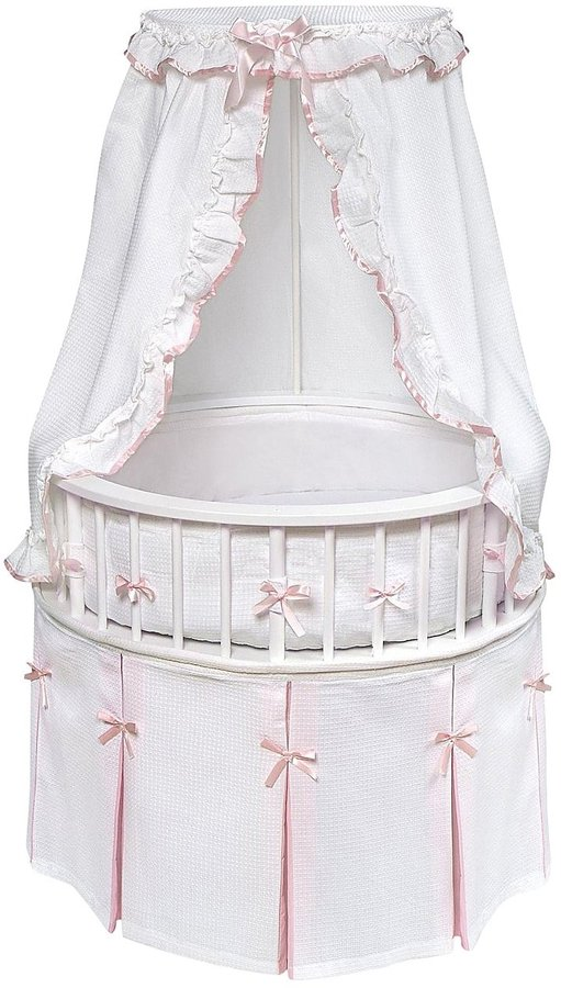Badger Basket Elegance Round Baby Bassinet - White/Pink