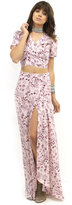 West Coast Wardrobe Pink Prairie Field Tie Dye Maxi Skirt with Side Slits in Print
