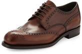 Prada Leather Wing-Tip Lace-Up, Brown