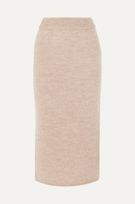 LE 17 SEPTEMBRE Wool Midi Skirt - Tan