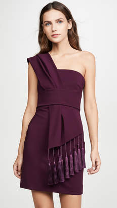 Cushnie Fitted Mini Dress with Scarf Detail Across Bodice