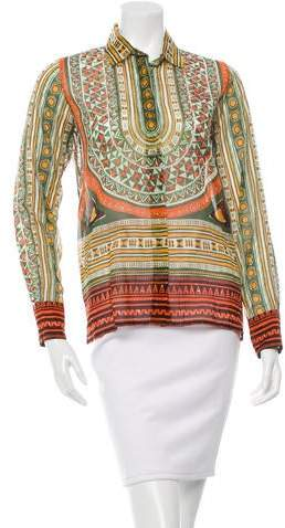 Valentino Geometric Print Button-Up Top w/ Tags