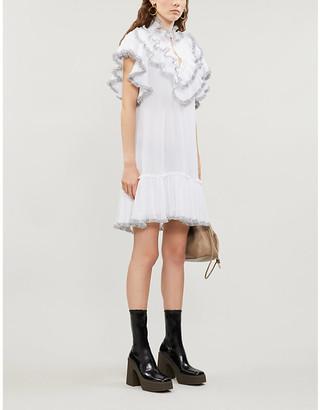 See by Chloe High-neck ruffled crepe mini dress