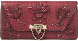 Valentino Studded Floral-appliqued Watersnake Clutch