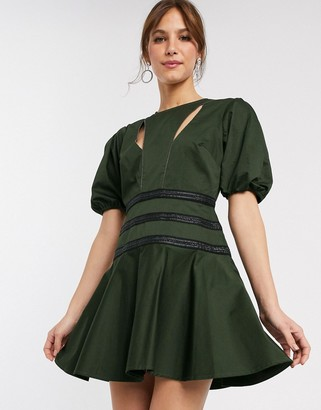 ASOS DESIGN chain detail structured mini dress with puff sleeve