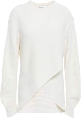 Thierry Mugler Asymmetric Ribbed Wool And Cashmere-blend Sweater
