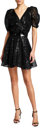 ONE33 SOCIAL Puff-Sleeve Sequin Embellished Mini A-Line Dress
