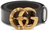 Gucci GG Running snake-embossed leather belt