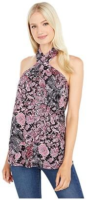 MICHAEL Michael Kors Arabesque Paisley Halter Neck Tank (Geranium) Women's Clothing