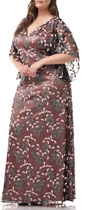 JS Collections Embroidered V-Neck midi cocktail dress with kimono sleeves