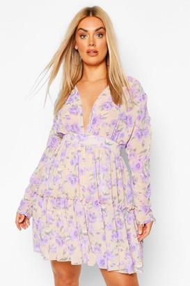 boohoo Plus Floral Print Ruffle Skater Dress
