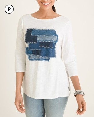 Chico's Petite Denim Patchwork Tee