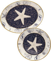 Certified International Coastal Moonlight Melamine 2-pc. Platter Set