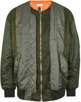 Facetasm Olive Panelled Shell Bomber Jacket