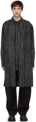 Julius Black Striped Draping Overshirt