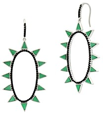 Freida Rothman Industrial Finish Spiked Oval Open Hoop Earrings in Rhodium-Plated Sterling Silver