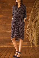 Moon River Striped Knot Front Dress