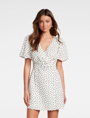 Forever New Maggie Linen Wrap Dress - White/Black Spot - 16