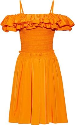 Nicholas Cold-shoulder Ruffled Shirred Cotton-blend Taffeta Dress