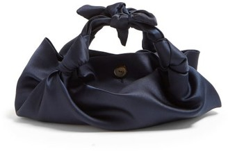The Row The Ascot Satin Clutch - Womens - Navy