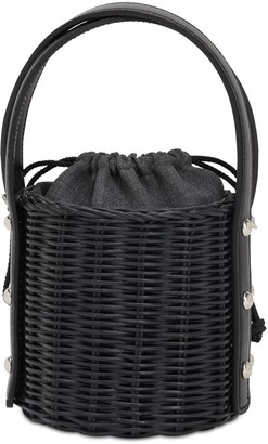 Wicker Wings Quan Rattan & Leather Bucket Bag