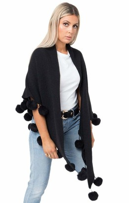Pia Rossini Ladies Black Knitted Scarf - Wrap with Pom Poms - Large Scarf - Anita