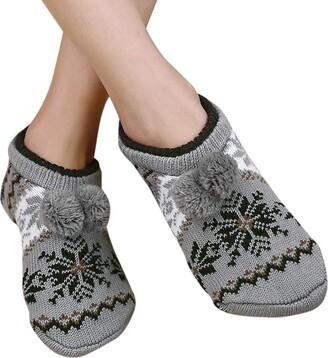 Ibluelover Womens Warm Soft Ballerina Slippers Knitted Non-Slip Slipper Socks Winter Warm Floor Socks Thick Yoga Dance Socks with Pom Pom Balls Christmas Birthday Gift for Ladies Girls
