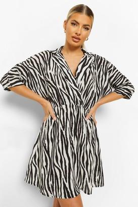 boohoo Zebra Open Collar Smock Dress