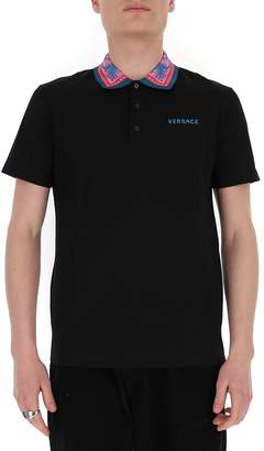 Versace Contrast Collared Logo Polo Shirt